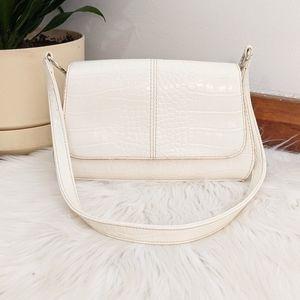 Vintage 90s White Faux Leather Croc Skin Mini Bag